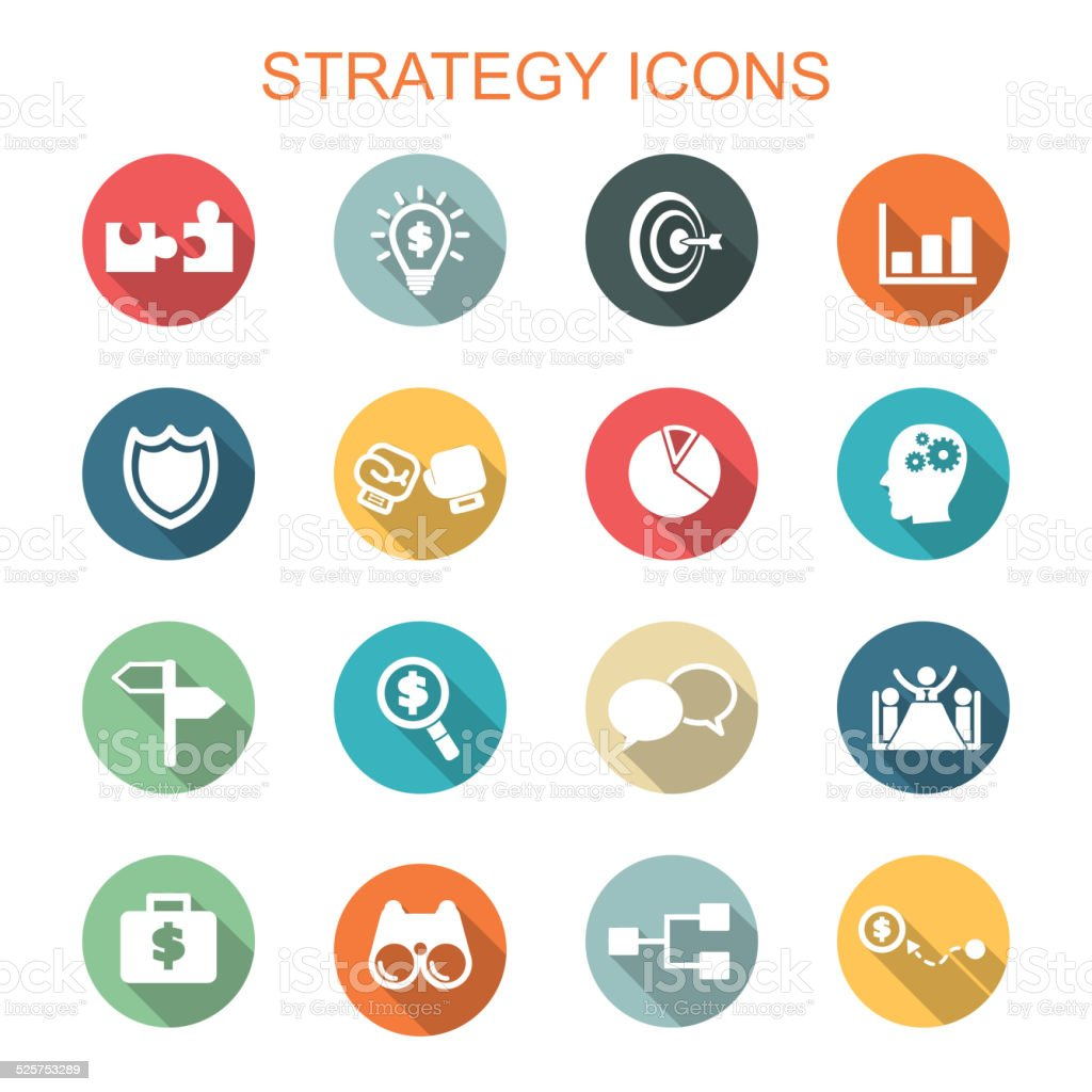 strategy long shadow icons vector art illustration