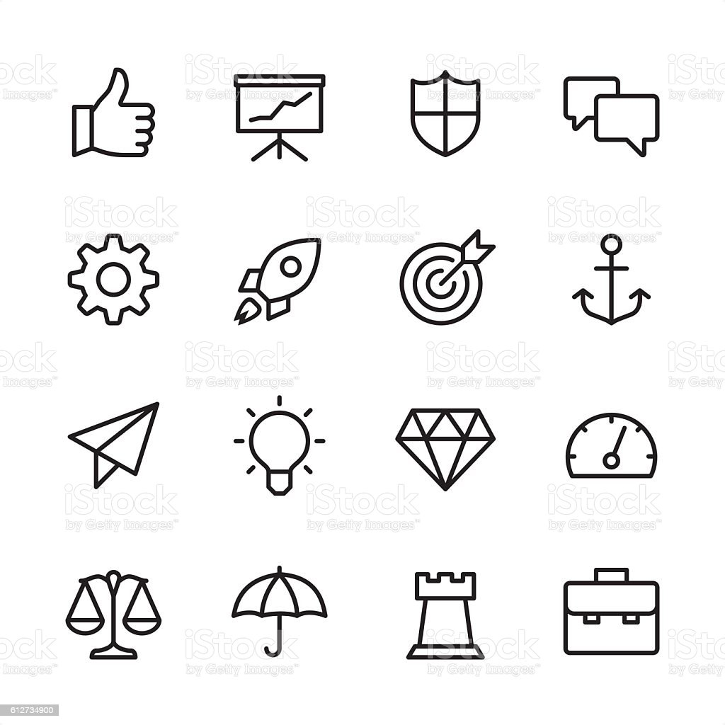 Strategy Management - outline style vector icons vector art illustration