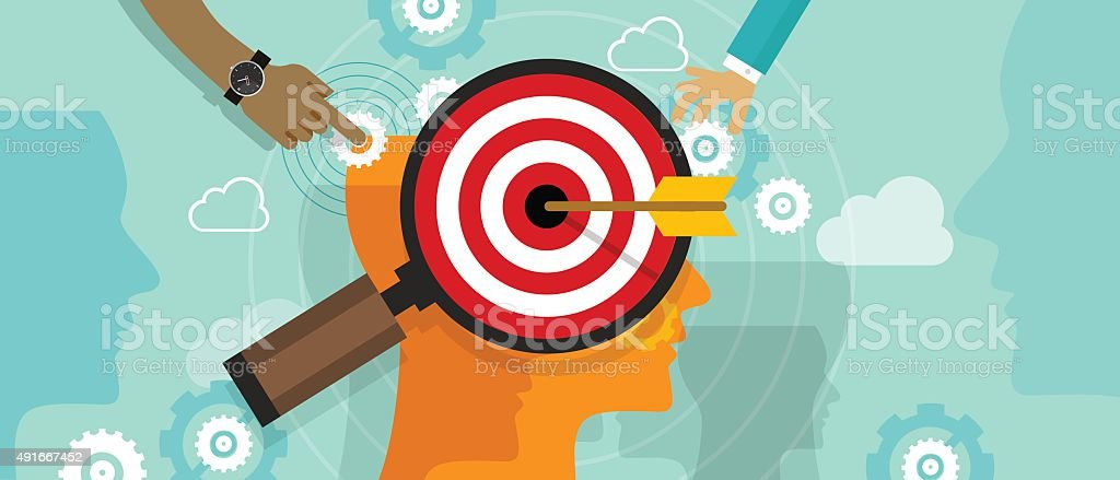 strategy target positioning in consumer customer mind marketing market concept vector art illustration