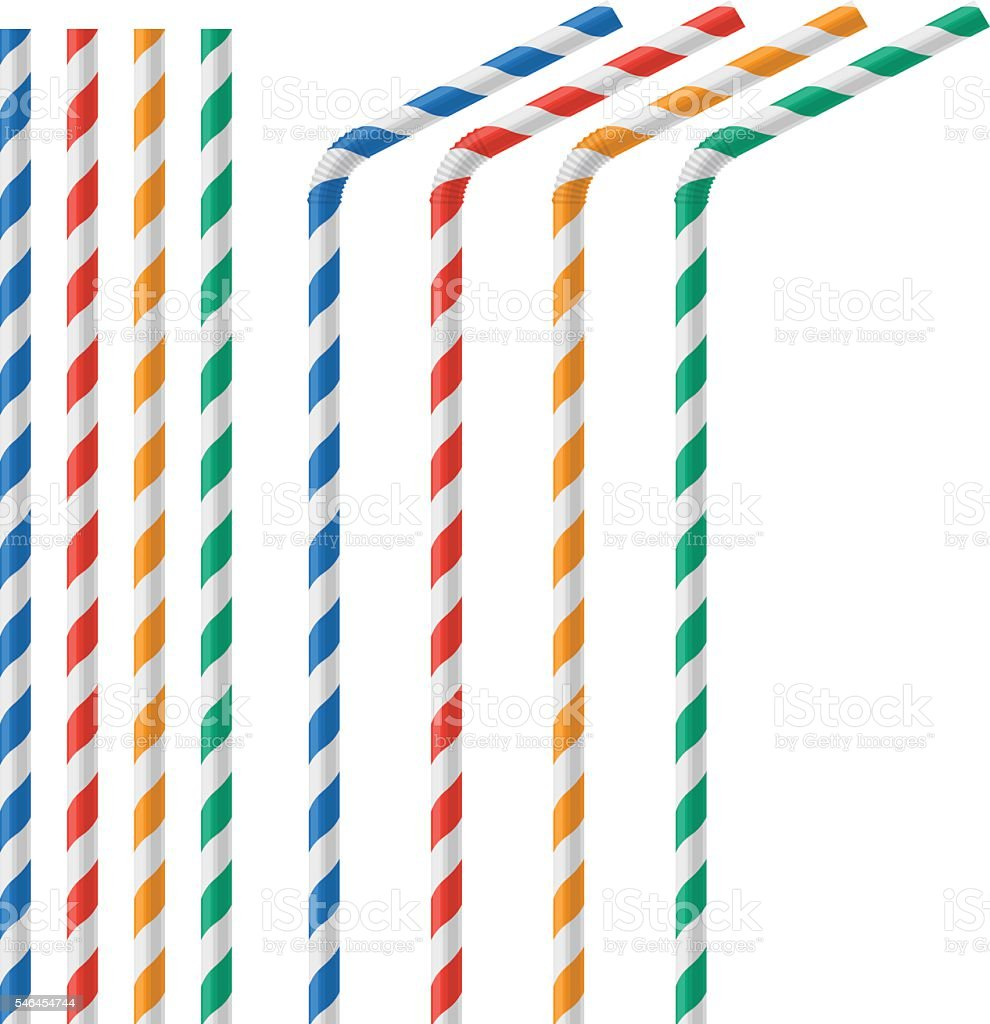 Straw for beverage colorful vector illustration isolated vector art illustration
