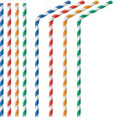 Straw for beverage colorful vector illustration isolated