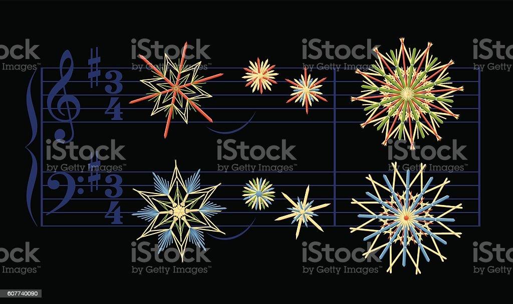 Straw Stars Christmas Song Silent Night vector art illustration