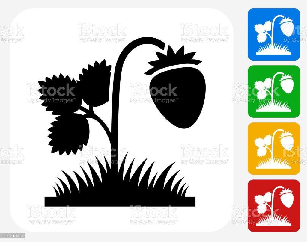 Strawberries Icon Flat Graphic Design vector art illustration