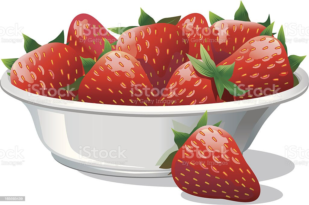 Strawberries in a White Bowl royalty-free stock vector art