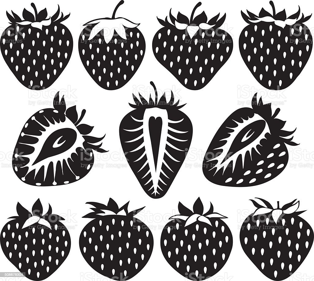 Strawberries of different shapes in black, collection of vector illustrations vector art illustration