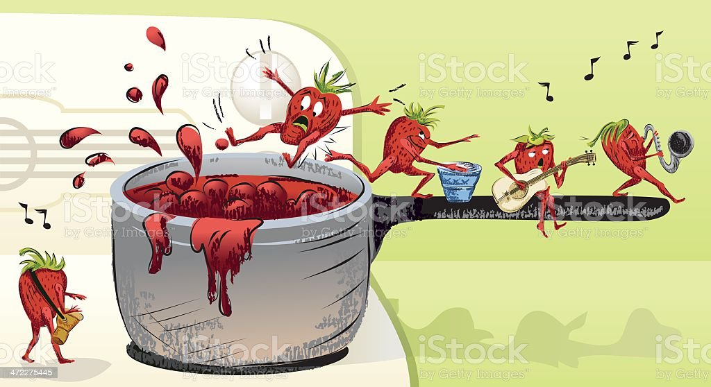 Strawberries Playing Instruments Standing in Pot on Stove vector art illustration