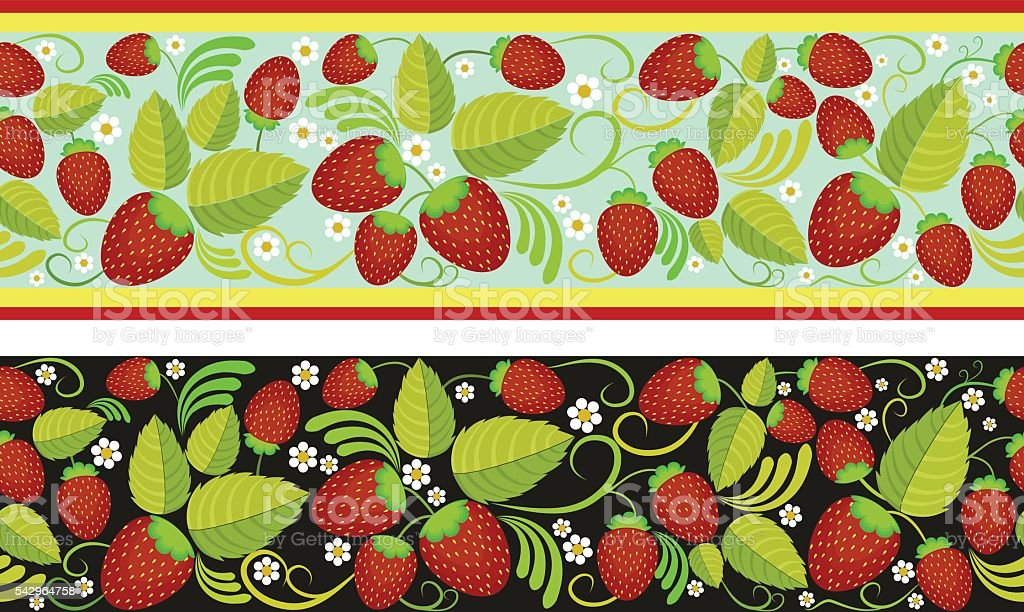 Strawberries seamless background with green leaves, berries vector art illustration