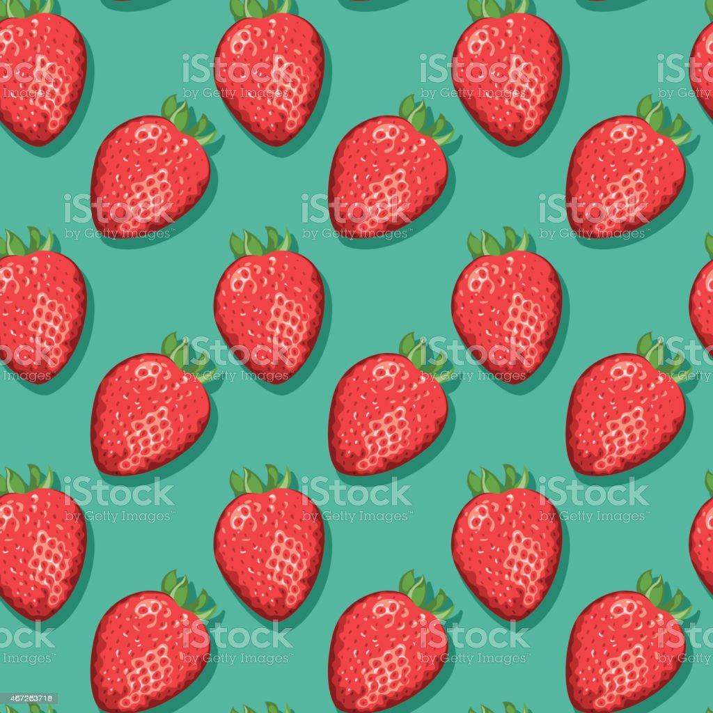 Strawberries (Seamless pattern pop art style) vector art illustration