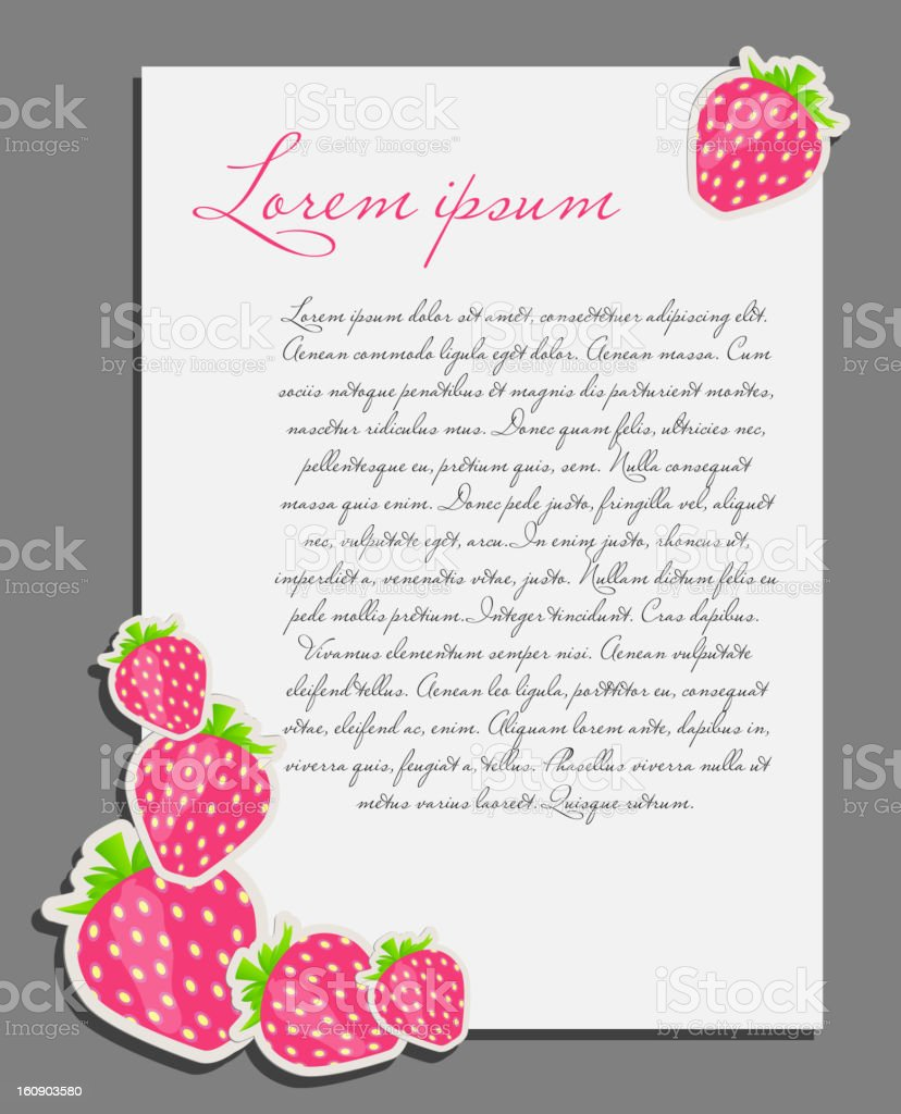 strawberry background blank page vector illustration royalty-free stock vector art