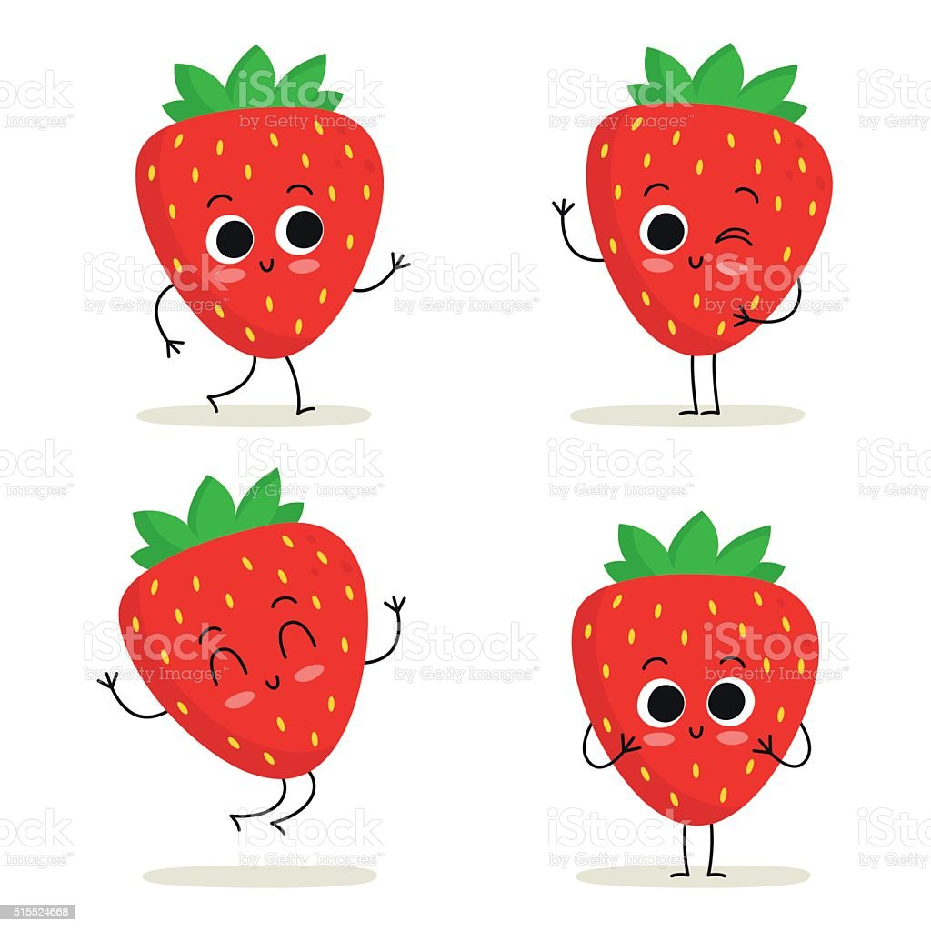 Strawberry. Cute fruit character set isolated on white vector art illustration
