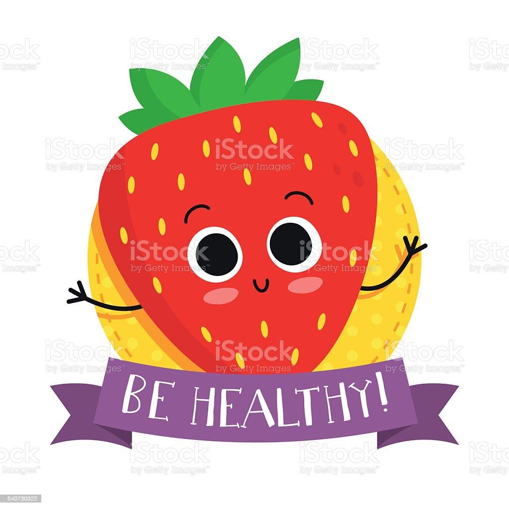 Strawberry, cute fruit vector character badge vector art illustration