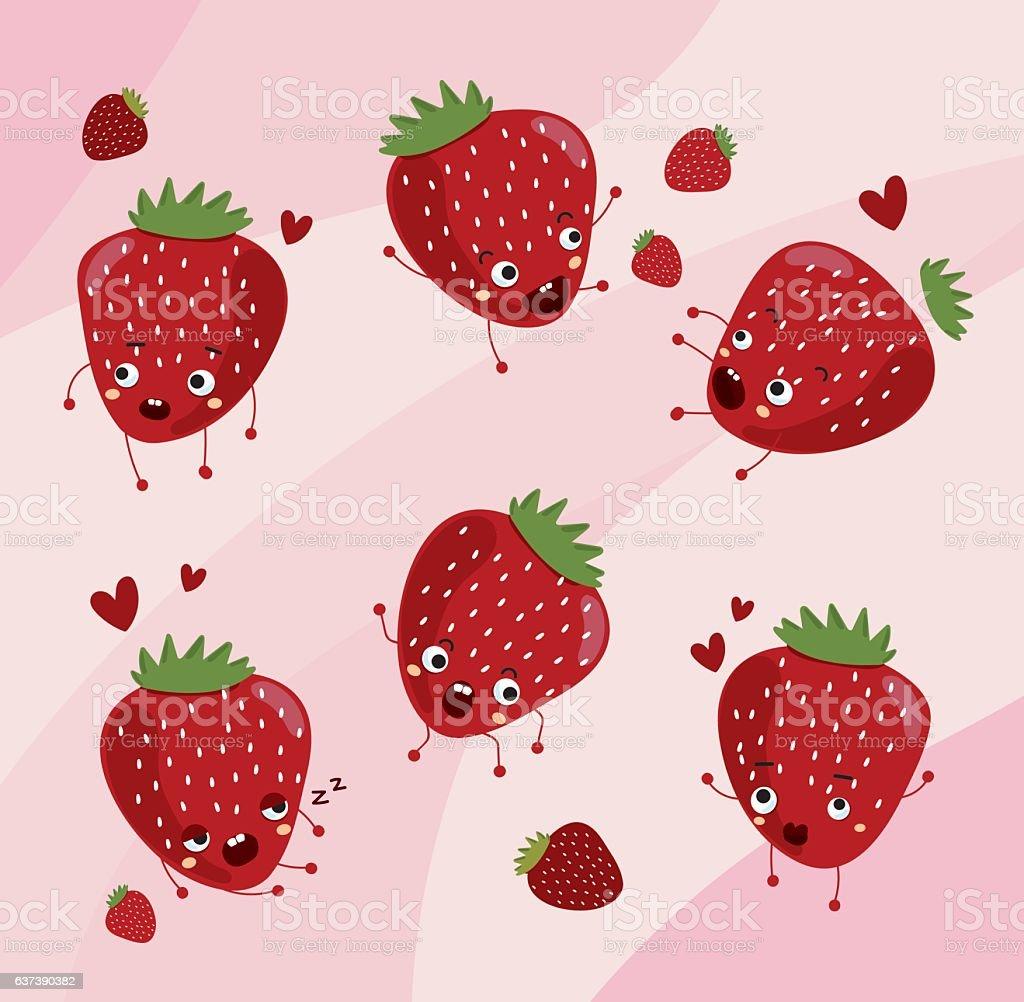 Strawberry. Cute fruit vector character set vector art illustration