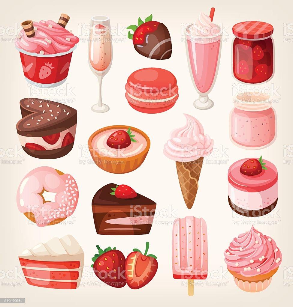 Strawberry desserts vector art illustration