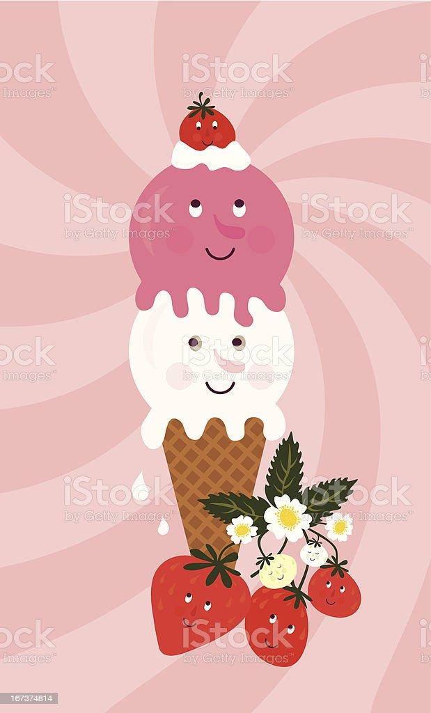 Strawberry ice cream royalty-free stock vector art