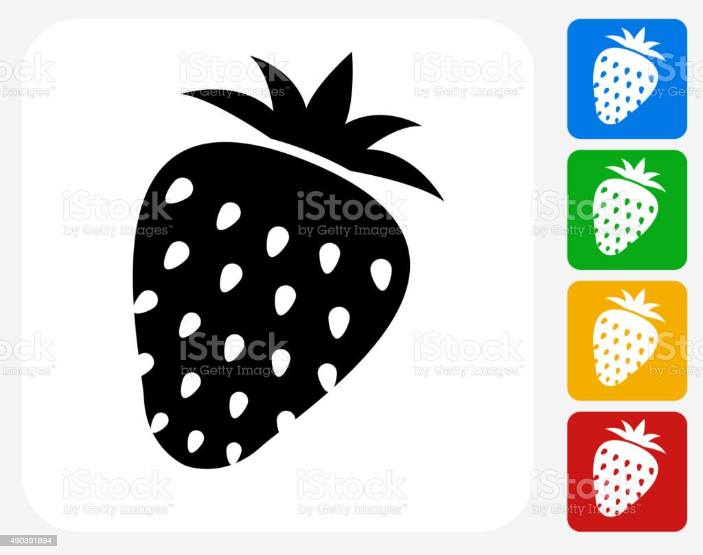 Strawberry Icon Flat Graphic Design vector art illustration