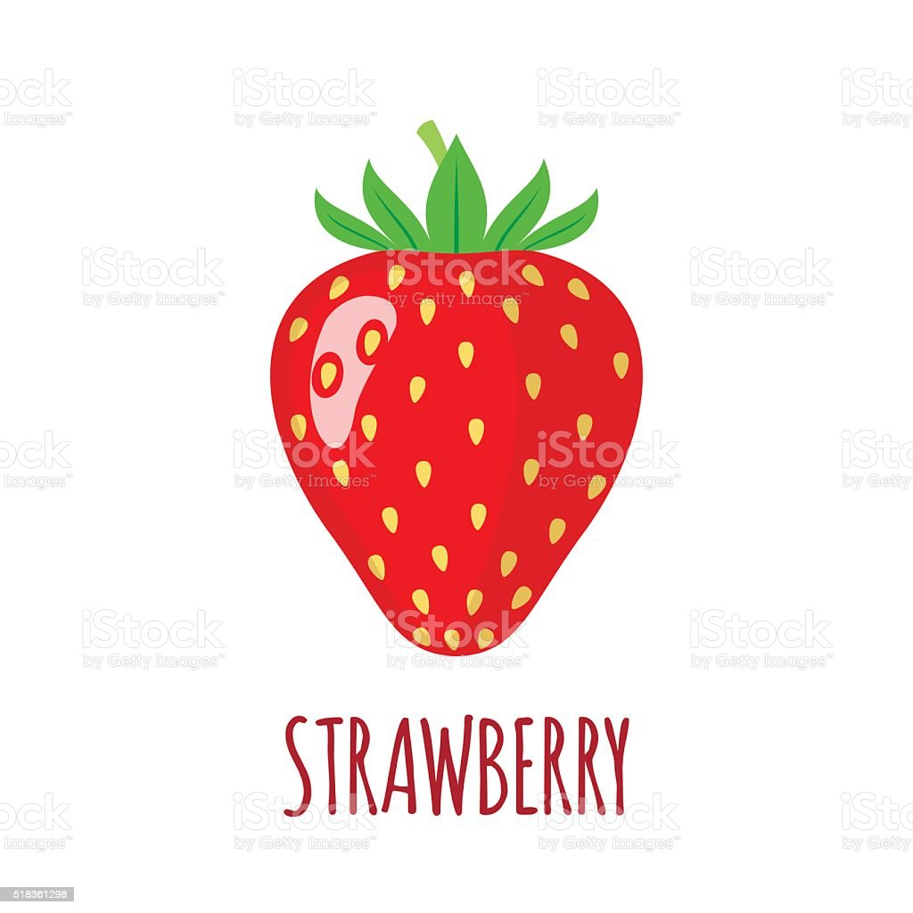 Strawberry icon in flat style on white background vector art illustration