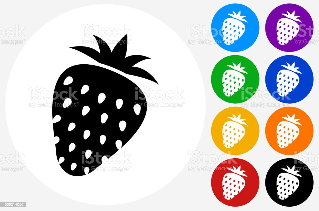 Strawberry Icon on Flat Color Circle Buttons vector art illustration