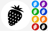 Strawberry Icon on Flat Color Circle Buttons