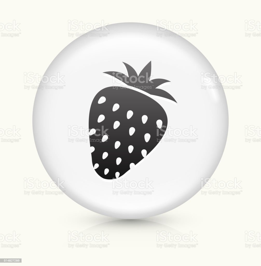 Strawberry icon on white round vector button vector art illustration