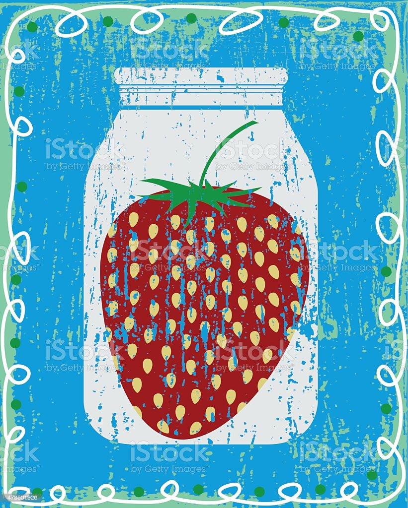 Strawberry in a jar vector art illustration