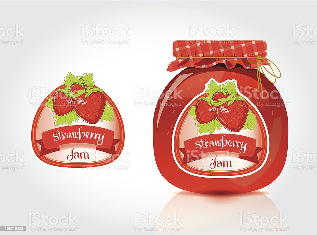Strawberry Jam Label With Jar royalty-free stock vector art