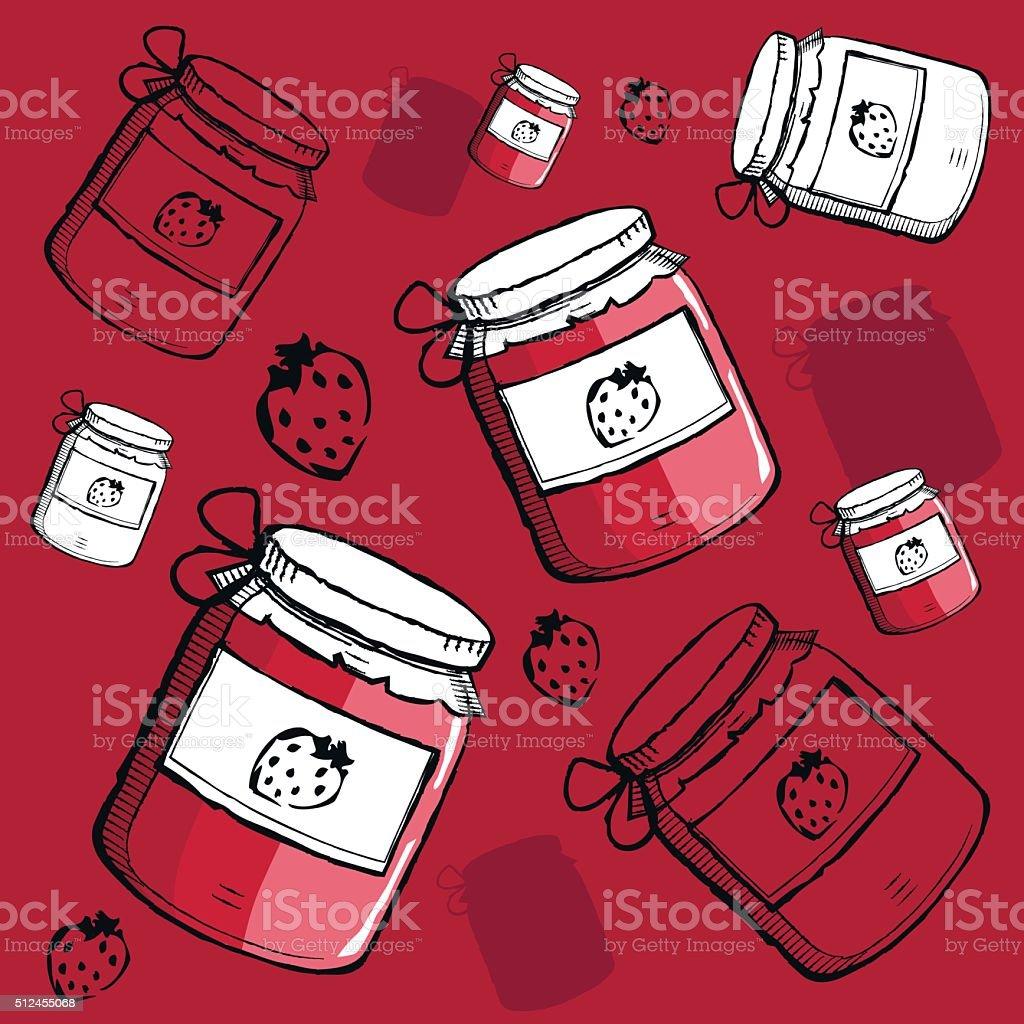 Strawberry jam pattern vector art illustration