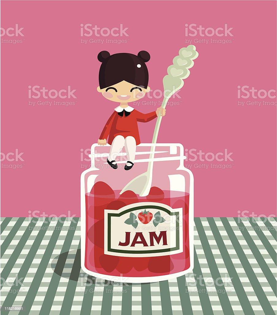 Strawberry jam. vector art illustration