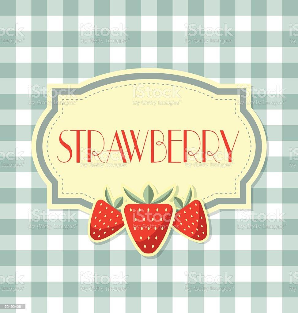 Strawberry label vector art illustration