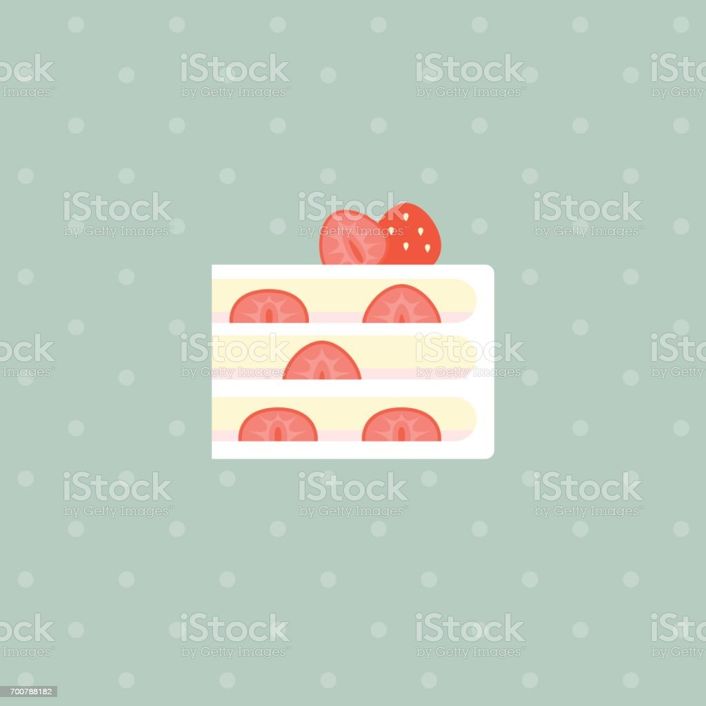 strawberry layer cake vector art illustration
