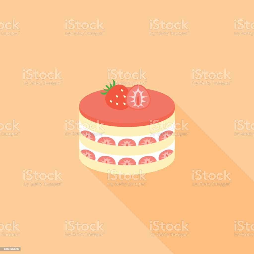 strawberry layer cheese cake vector art illustration