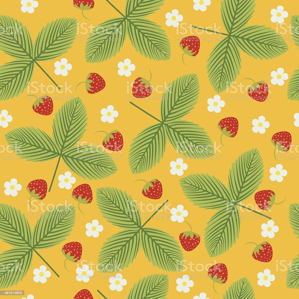 Strawberry vector seamless pattern vector art illustration