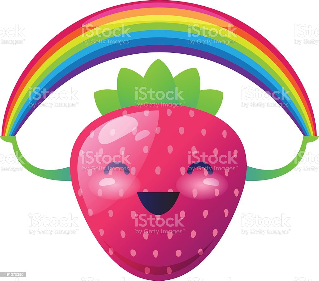 Strawberry with a rainbow on her hands. Vector illustration vector art illustration