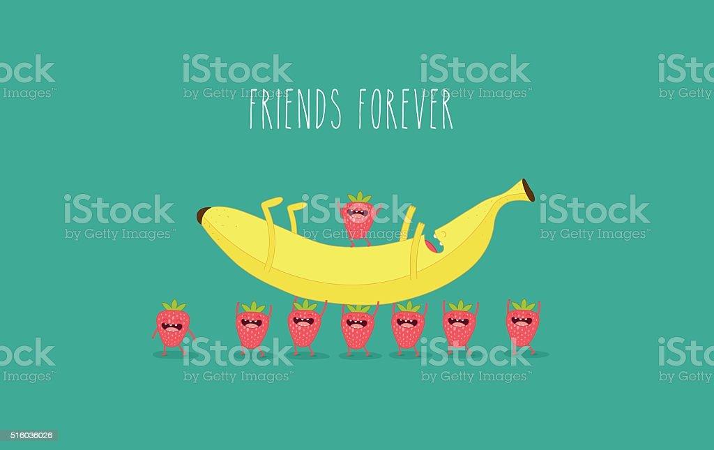 strawberry with banana vector art illustration