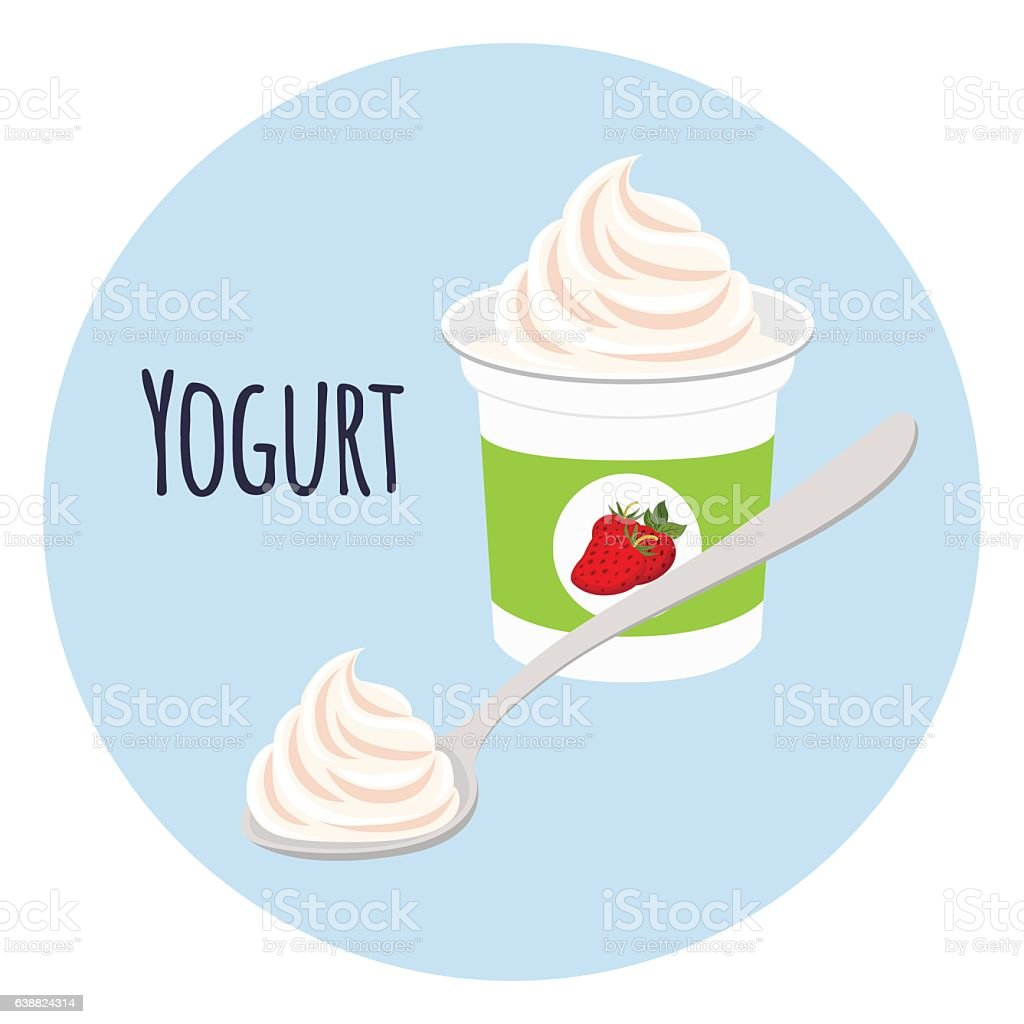 Strawberry yogurt in plastic cup. Milk cream product. Flat style vector art illustration