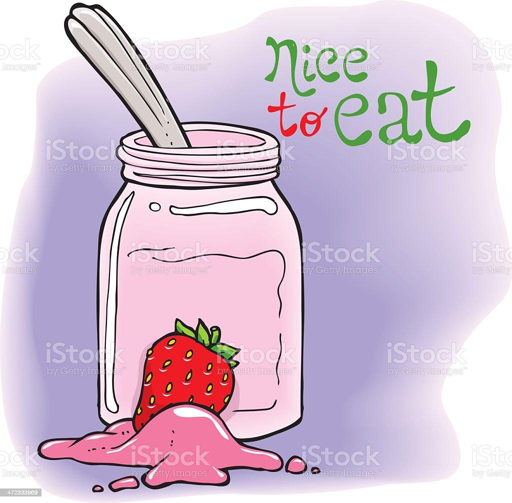 Strawberry Yogurt vector art illustration