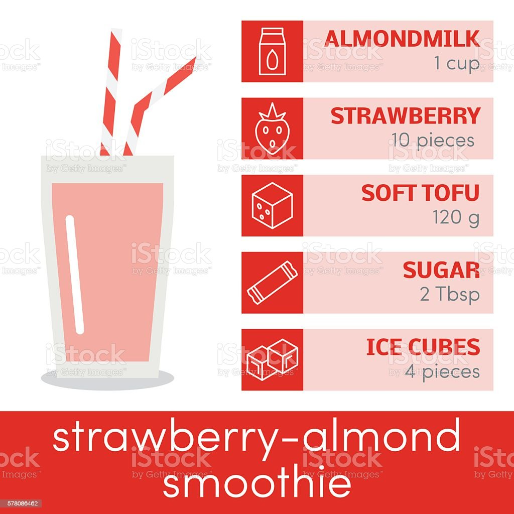 Strawberry-almond smoothie vector vector art illustration