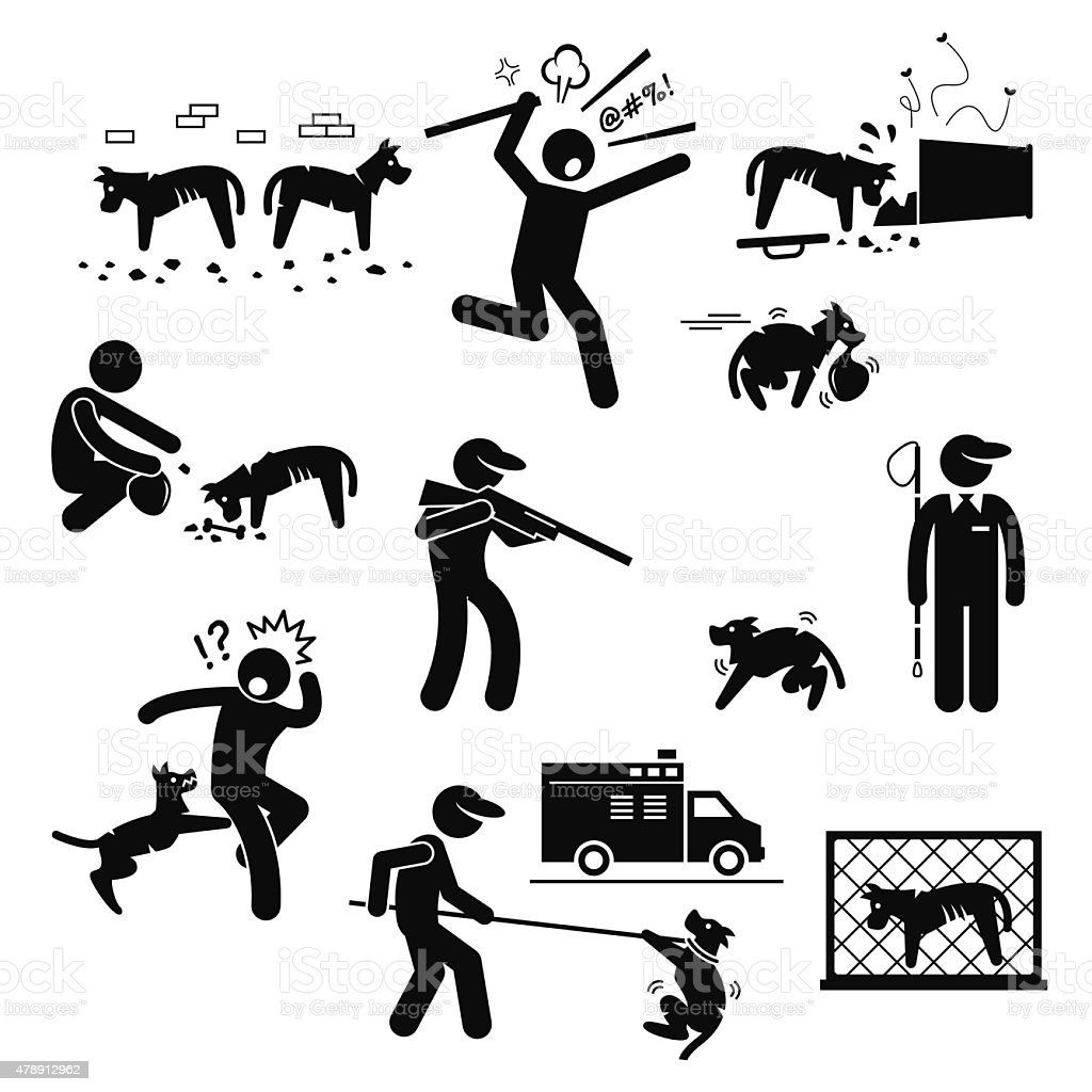Stray Dog Problem Issue Stick Figure Pictogram Icons vector art illustration