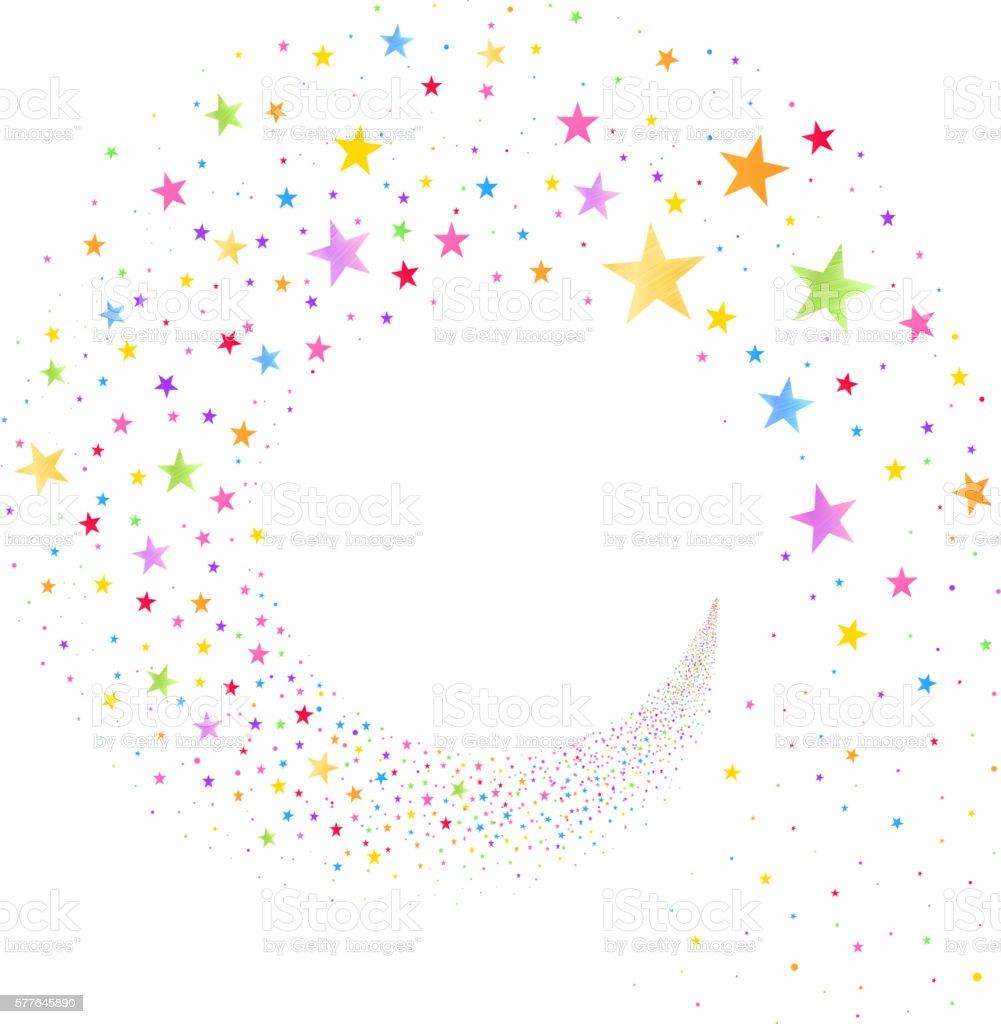 Stream of Multicolored Stars vector art illustration