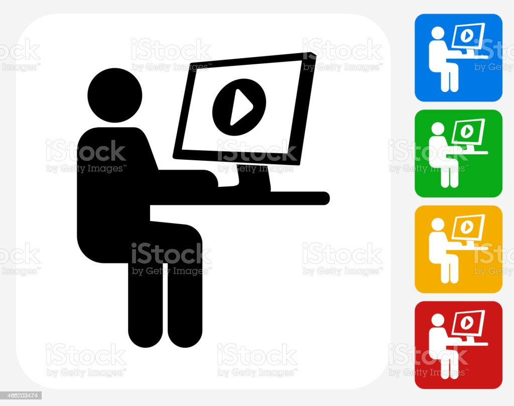 Streaming Video Icon Flat Graphic Design vector art illustration
