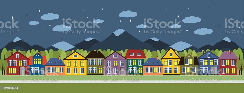 Street and houses. vector art illustration