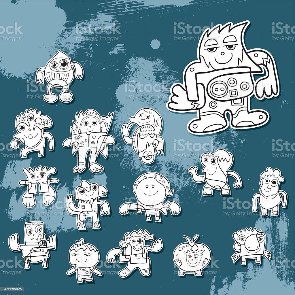 Street Art Doodle Character Set royalty-free stock vector art