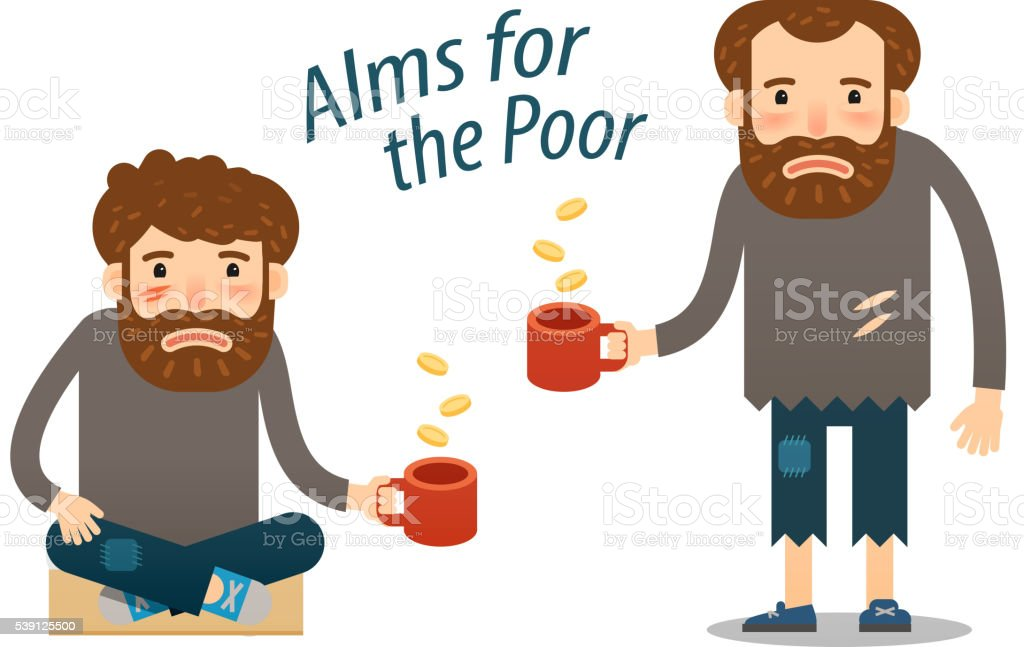 street beggar. hungry man asks for money with a mug vector art illustration