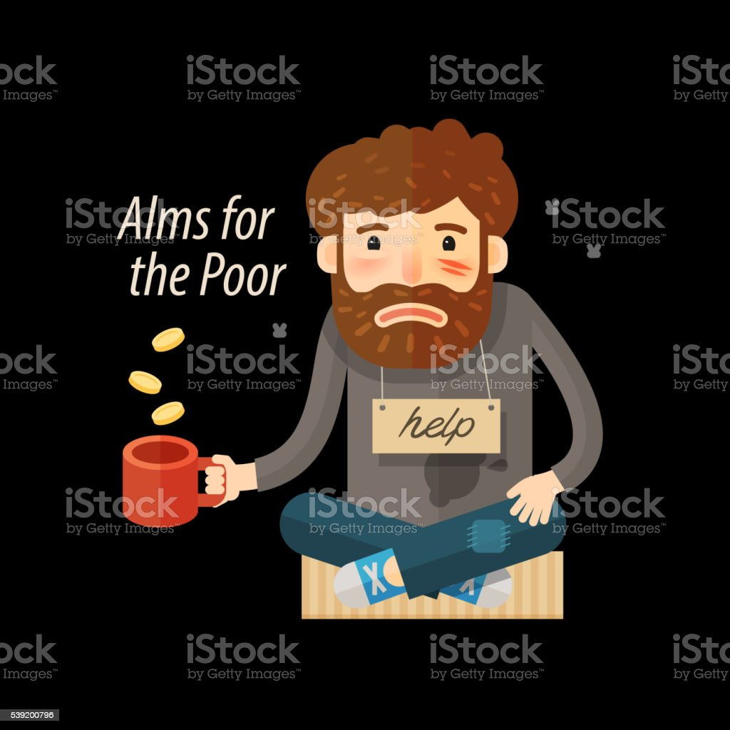 Street beggar. Unemployed or homeless icon. Alms vector illustration vector art illustration