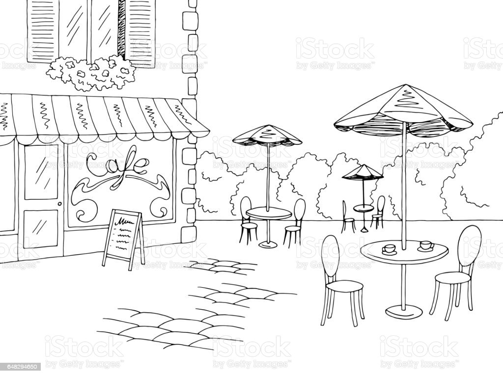 street cafe graphic black white sketch illustration vector stock