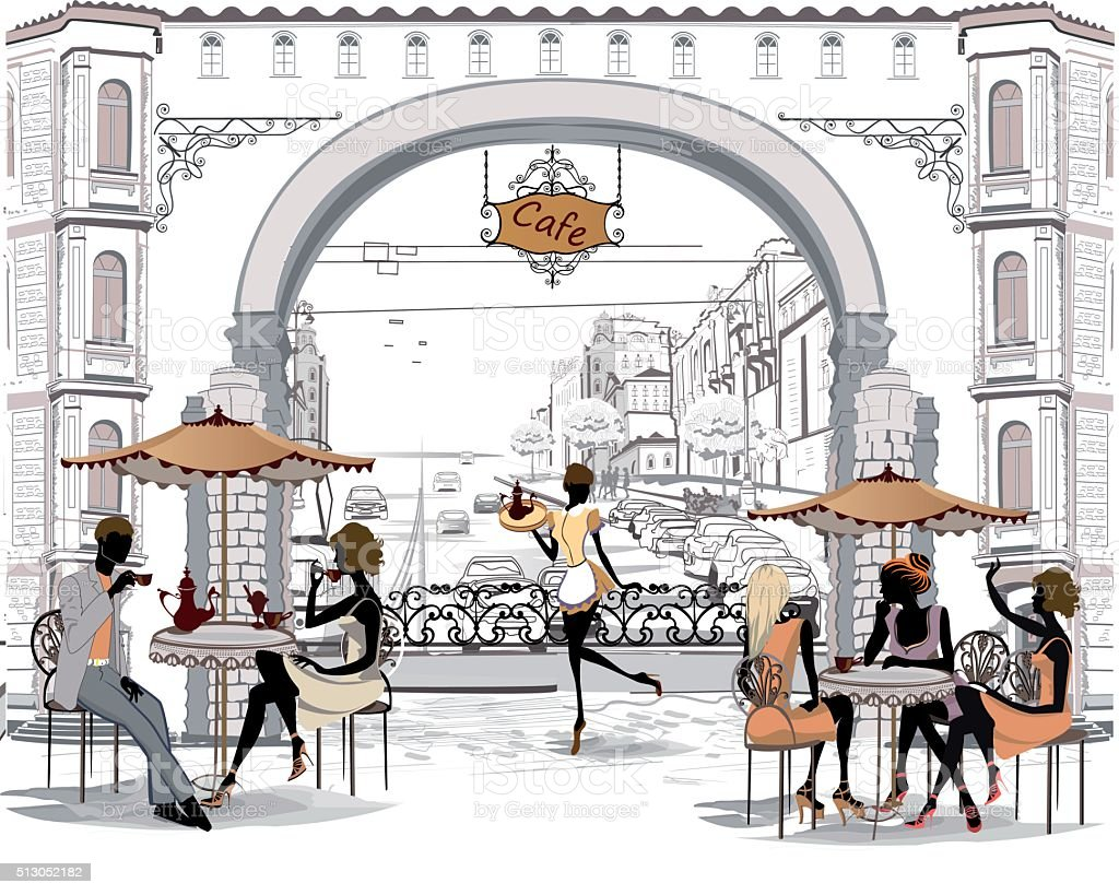 Street cafe in the old city with people. vector art illustration