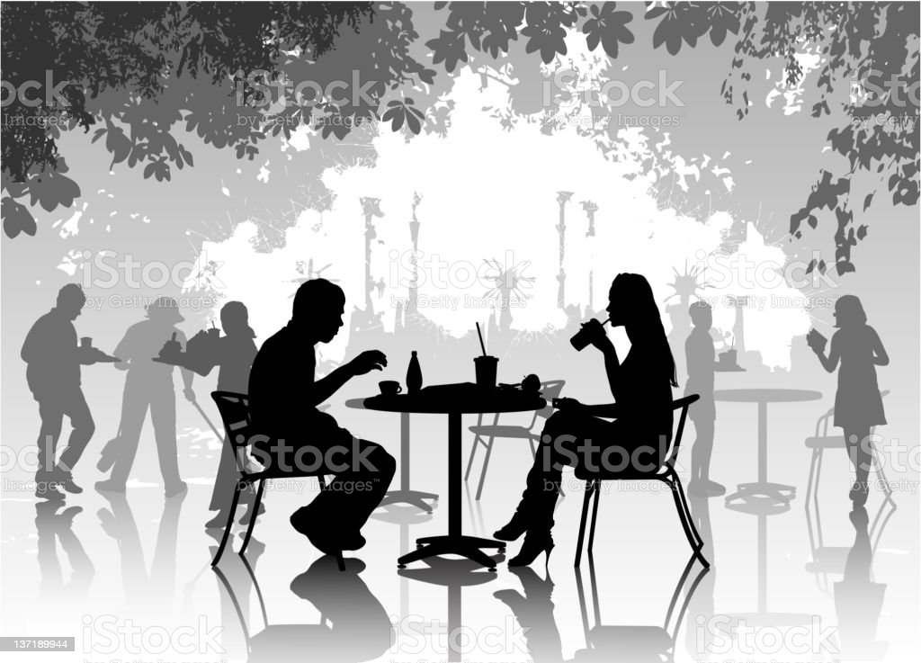 Street cafe with drinking people vector art illustration