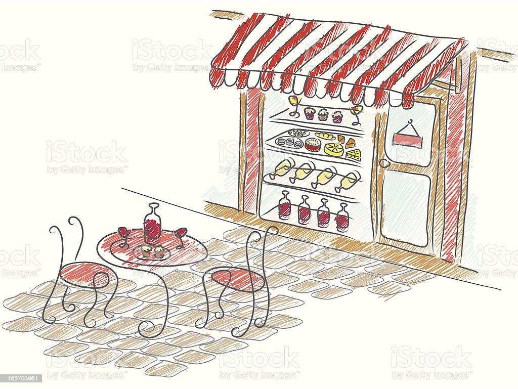 street cafe with storefront vector art illustration