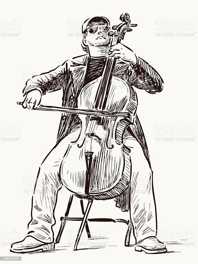 street cellist vector art illustration