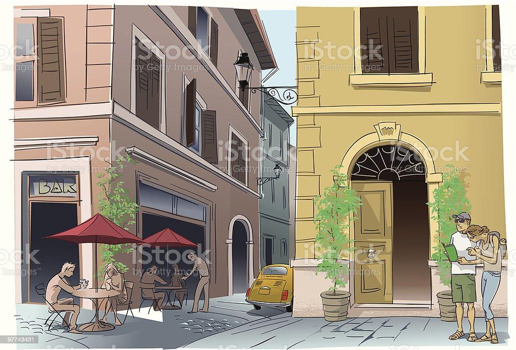 Street corner vector art illustration
