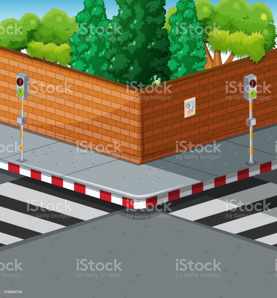 Street corner with two zebra crossings vector art illustration